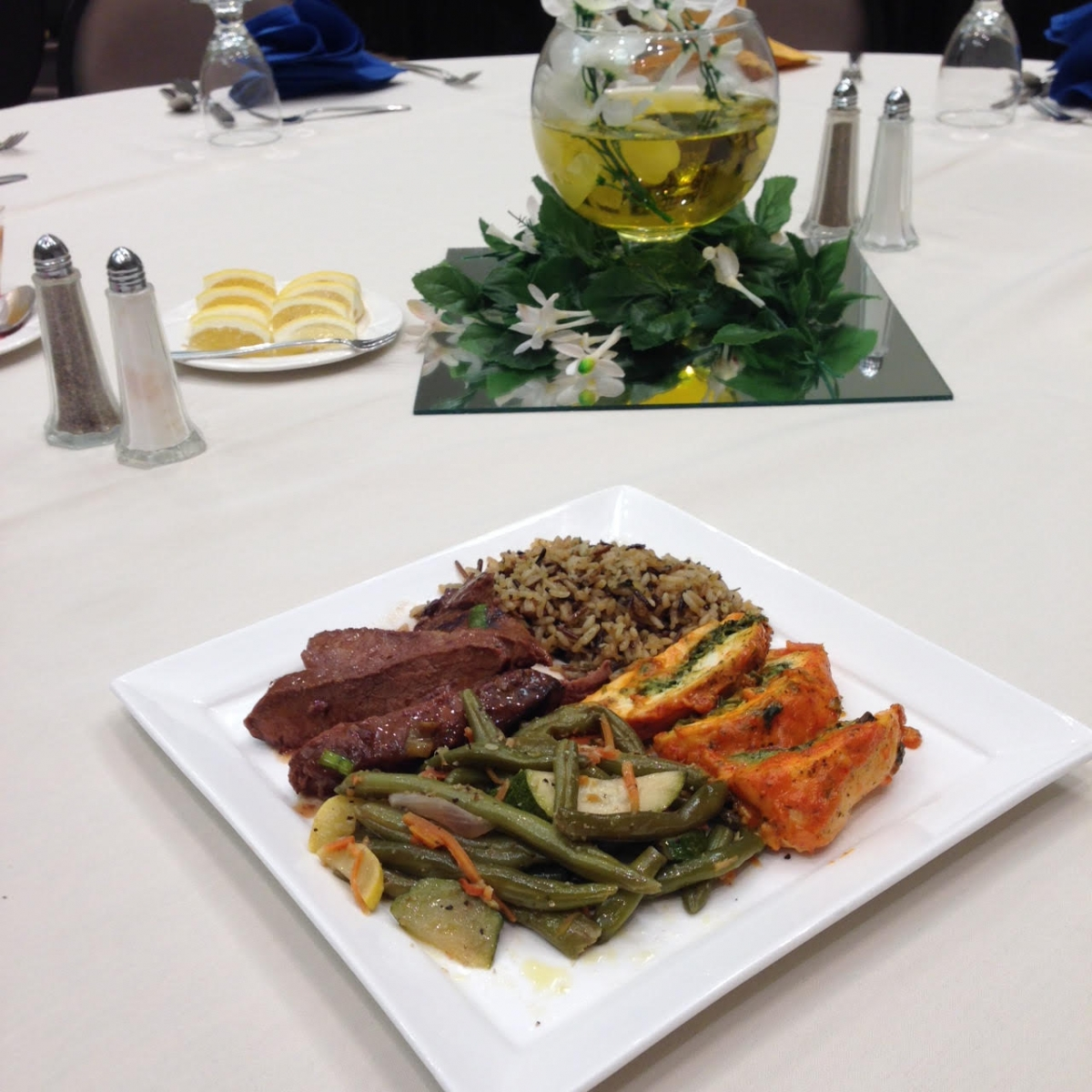 Sliced Sirloin and Chic Florentine at Table Setting  - Chesapeake Conference Center