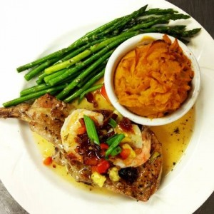 Pork Chop with Fruit Compote served with Mashed Sweet Potatoes and Garlic Asparagus - Chesapeake Conference Center