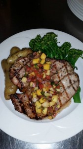 Grilled Pork Chop topped with Fruit Compote, Fingerling Potatoes, and Broccolini - Chesapeake Conference Center