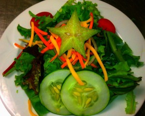 Star Fruit Salad with Tomatoes, Spring Mix, Carrots, Cucumbers, and Star Fruit - Chesapeake Conference Center